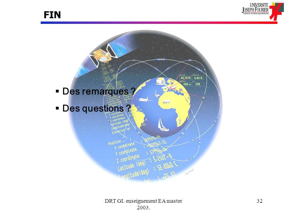 DRT GI. enseignement EA master 2003. 32 FIN Des remarques ? Des questions ?
