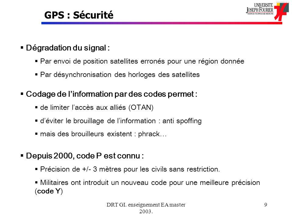 DRT GI. enseignement EA master 2003. 9 GPS : Sécurité Dégradation du signal : Par envoi de position satellites erronés pour une région donnée Par désy