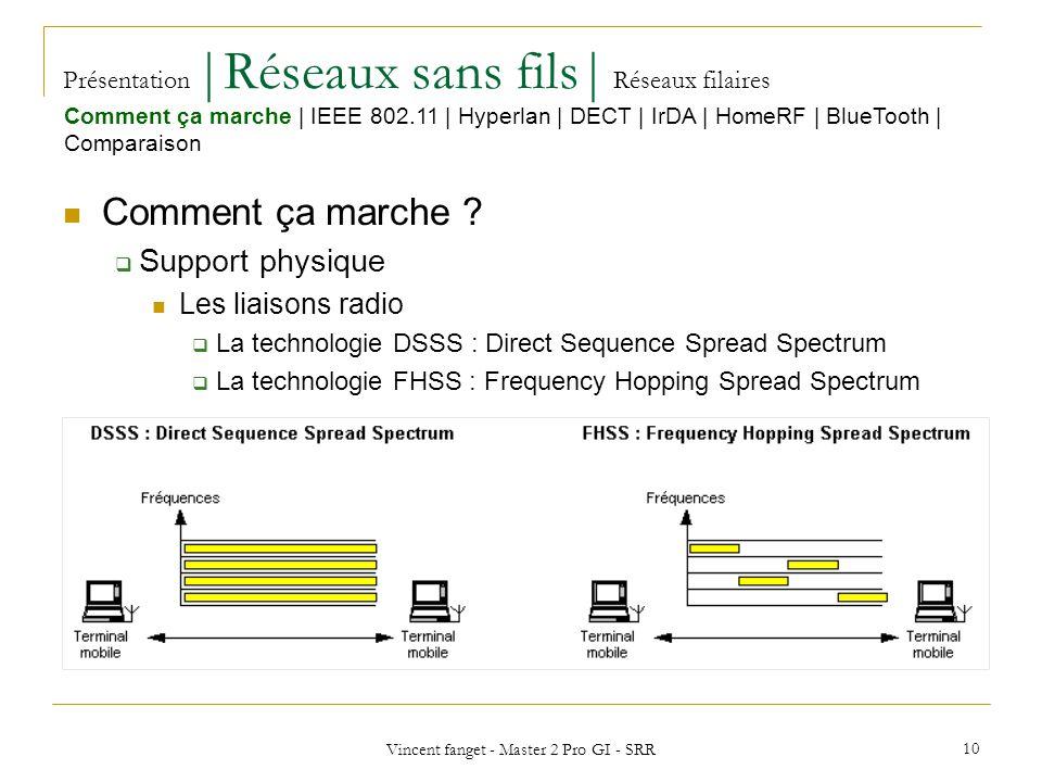 Vincent fanget - Master 2 Pro GI - SRR 10 Présentation  Réseaux sans fils  Réseaux filaires Comment ça marche .
