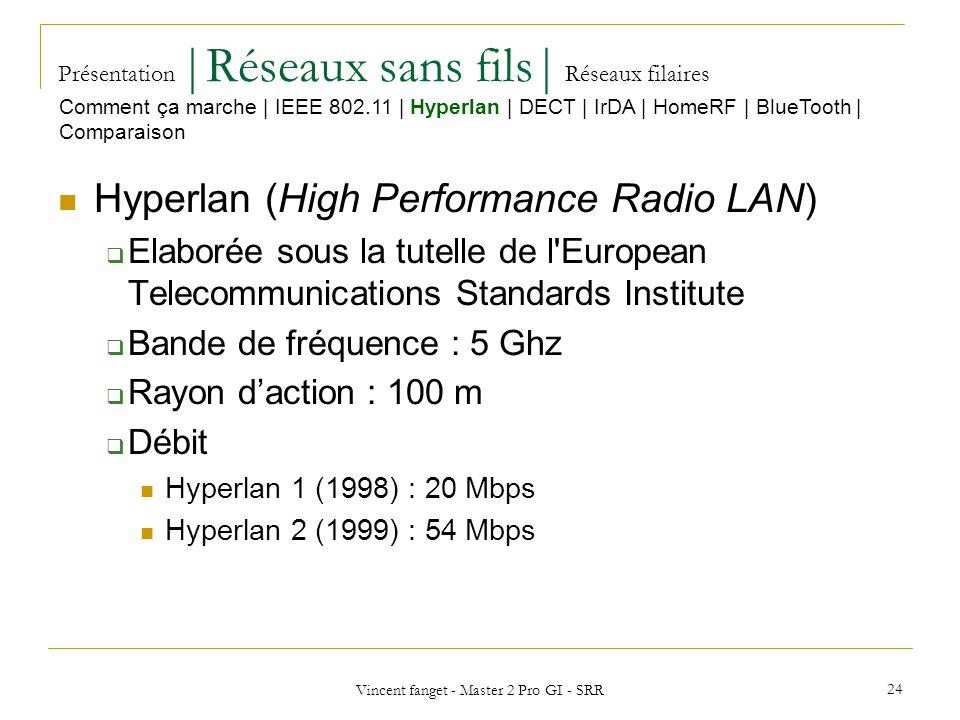 Vincent fanget - Master 2 Pro GI - SRR 24 Présentation  Réseaux sans fils  Réseaux filaires Hyperlan (High Performance Radio LAN) Elaborée sous la tutelle de l European Telecommunications Standards Institute Bande de fréquence : 5 Ghz Rayon daction : 100 m Débit Hyperlan 1 (1998) : 20 Mbps Hyperlan 2 (1999) : 54 Mbps Comment ça marche   IEEE 802.11   Hyperlan   DECT   IrDA   HomeRF   BlueTooth   Comparaison