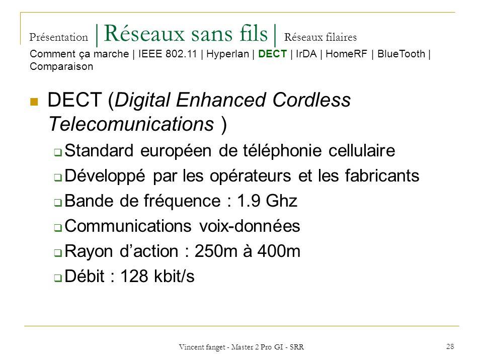 Vincent fanget - Master 2 Pro GI - SRR 28 Présentation  Réseaux sans fils  Réseaux filaires DECT (Digital Enhanced Cordless Telecomunications ) Standard européen de téléphonie cellulaire Développé par les opérateurs et les fabricants Bande de fréquence : 1.9 Ghz Communications voix-données Rayon daction : 250m à 400m Débit : 128 kbit/s Comment ça marche   IEEE 802.11   Hyperlan   DECT   IrDA   HomeRF   BlueTooth   Comparaison