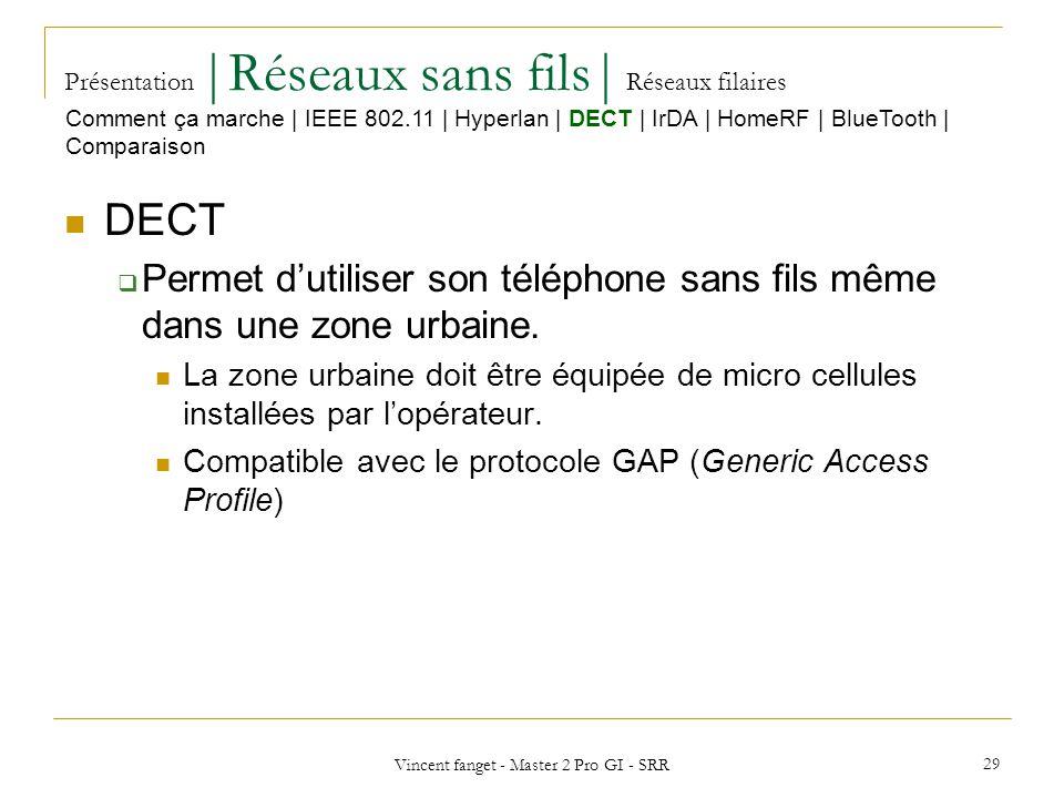 Vincent fanget - Master 2 Pro GI - SRR 29 Présentation  Réseaux sans fils  Réseaux filaires DECT Permet dutiliser son téléphone sans fils même dans une zone urbaine.