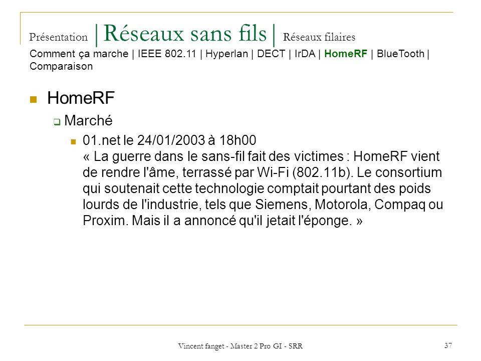 Vincent fanget - Master 2 Pro GI - SRR 37 Présentation  Réseaux sans fils  Réseaux filaires HomeRF Marché 01.net le 24/01/2003 à 18h00 « La guerre dans le sans-fil fait des victimes : HomeRF vient de rendre l âme, terrassé par Wi-Fi (802.11b).