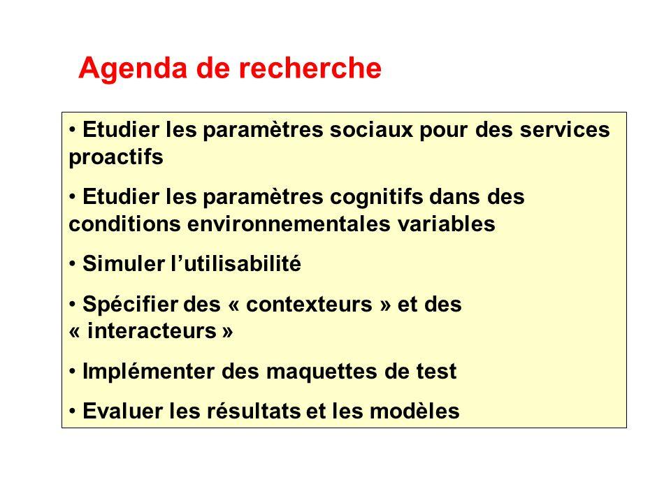 Agenda de recherche Etudier les paramètres sociaux pour des services proactifs Etudier les paramètres cognitifs dans des conditions environnementales variables Simuler lutilisabilité Spécifier des « contexteurs » et des « interacteurs » Implémenter des maquettes de test Evaluer les résultats et les modèles