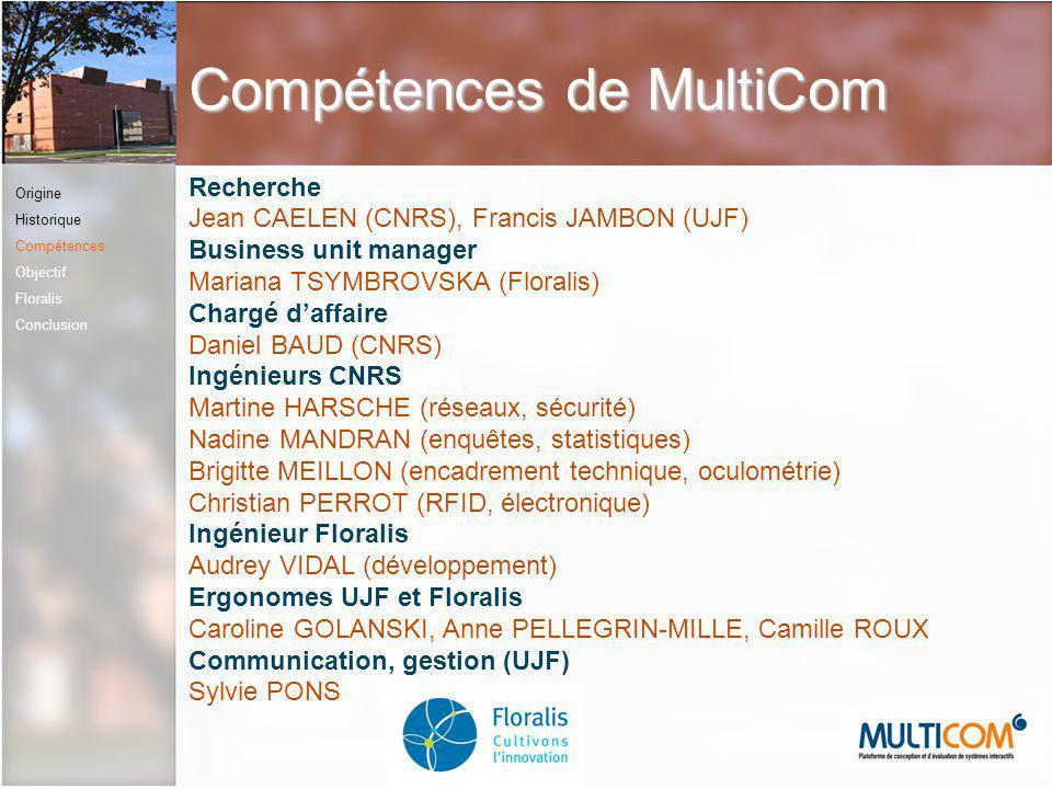 Compétences de MultiCom Recherche Jean CAELEN (CNRS), Francis JAMBON (UJF) Business unit manager Mariana TSYMBROVSKA (Floralis) Chargé daffaire Daniel