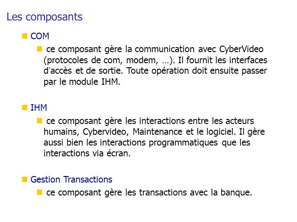 Les composants COM ce composant gère la communication avec CyberVideo (protocoles de com, modem, …). Il fournit les interfaces d accès et de sortie. T