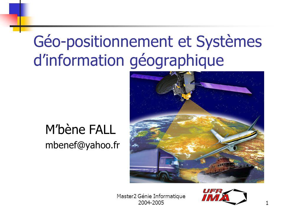 source ESA Master2 Génie Informatique 2004-200512 3.1 Composition de Galileo La partie Spatiale: 27 satellites actifs plus 3 de secours placés sur 3 orbites à 23616 Km Satellite: 700 Kg, une horloge atomique panneaux solaires La partie au sol: 2 centres de contrôles en Europe min de 2O stations au sol les récepteurs individuels Galileo diffusera 10 signaux sur 3 bandes de fréquence: 6 pour les services gratuits 2 pour le service commercial 2 pour le service public réglementé