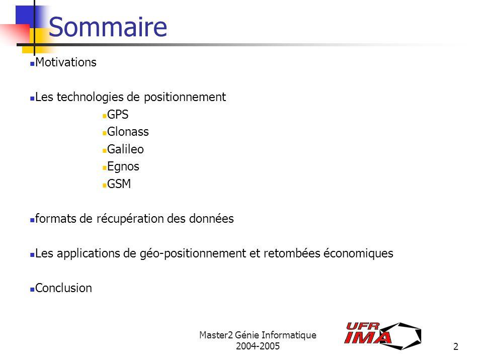 Master2 Génie Informatique 2004-20053 Motivations Besoin de permanent connaître une heure, une position.