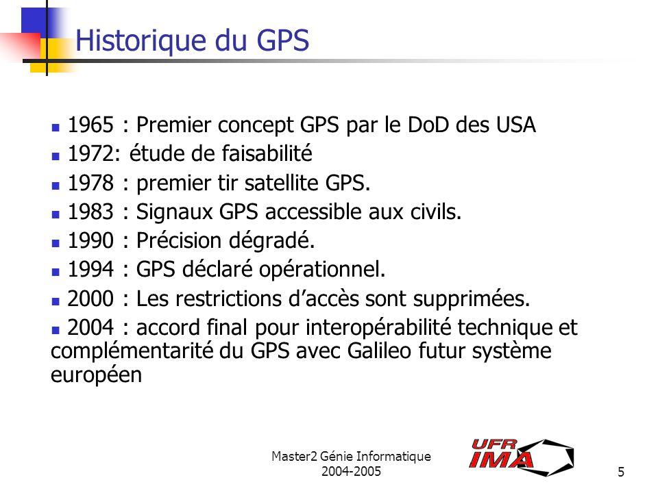 Master2 Génie Informatique 2004-20056 Composition du GPS Segment spatial : 24 satellites NAVSTAR sur 6 orbites - altitude de 20184 Km - 12 h révolution terrestre - horloge atomique Segment de contrôle : 5 stations américaines au sol.
