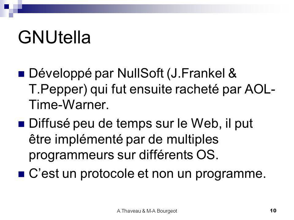 A.Thaveau & M-A Bourgeot10 GNUtella Développé par NullSoft (J.Frankel & T.Pepper) qui fut ensuite racheté par AOL- Time-Warner. Diffusé peu de temps s