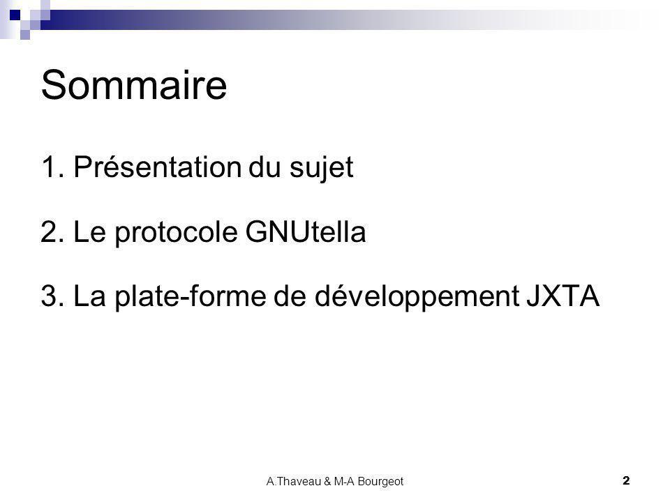 A.Thaveau & M-A Bourgeot2 Sommaire 1. Présentation du sujet 2. Le protocole GNUtella 3. La plate-forme de développement JXTA