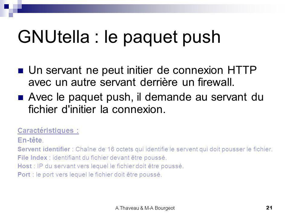 A.Thaveau & M-A Bourgeot21 GNUtella : le paquet push Un servant ne peut initier de connexion HTTP avec un autre servant derrière un firewall. Avec le