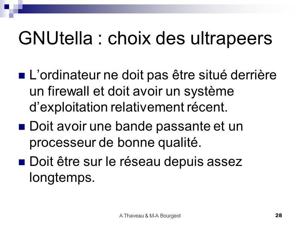 A.Thaveau & M-A Bourgeot28 GNUtella : choix des ultrapeers Lordinateur ne doit pas être situé derrière un firewall et doit avoir un système dexploitat