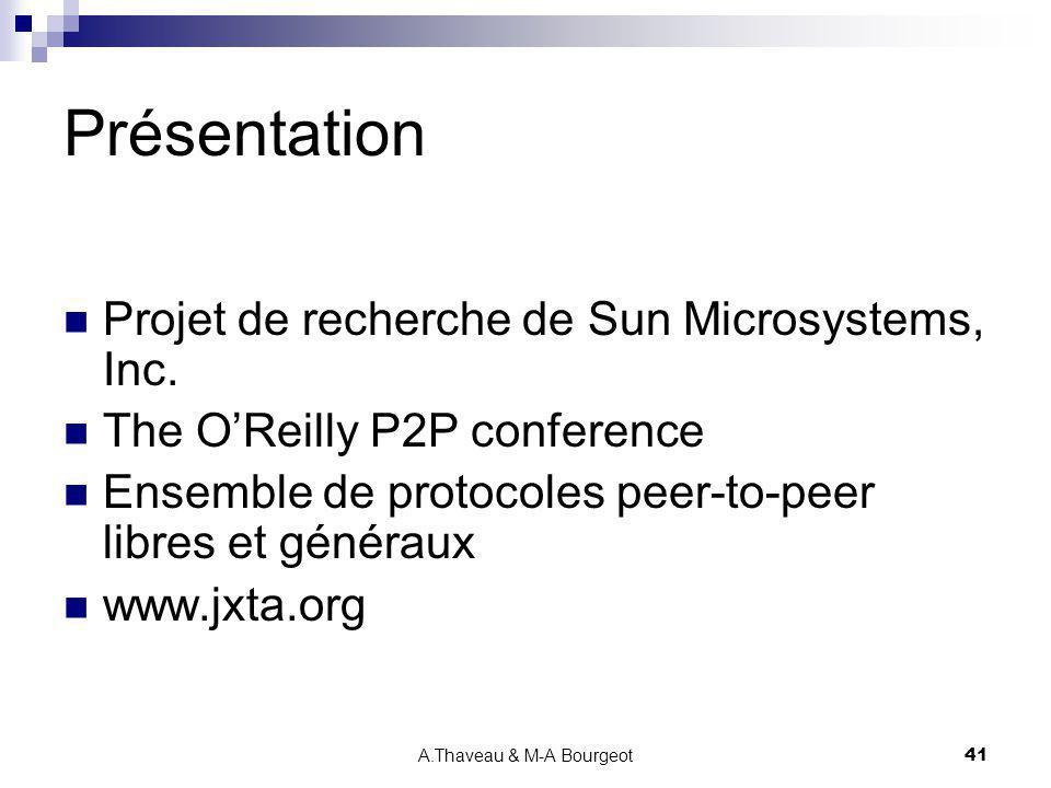 A.Thaveau & M-A Bourgeot41 Présentation Projet de recherche de Sun Microsystems, Inc. The OReilly P2P conference Ensemble de protocoles peer-to-peer l
