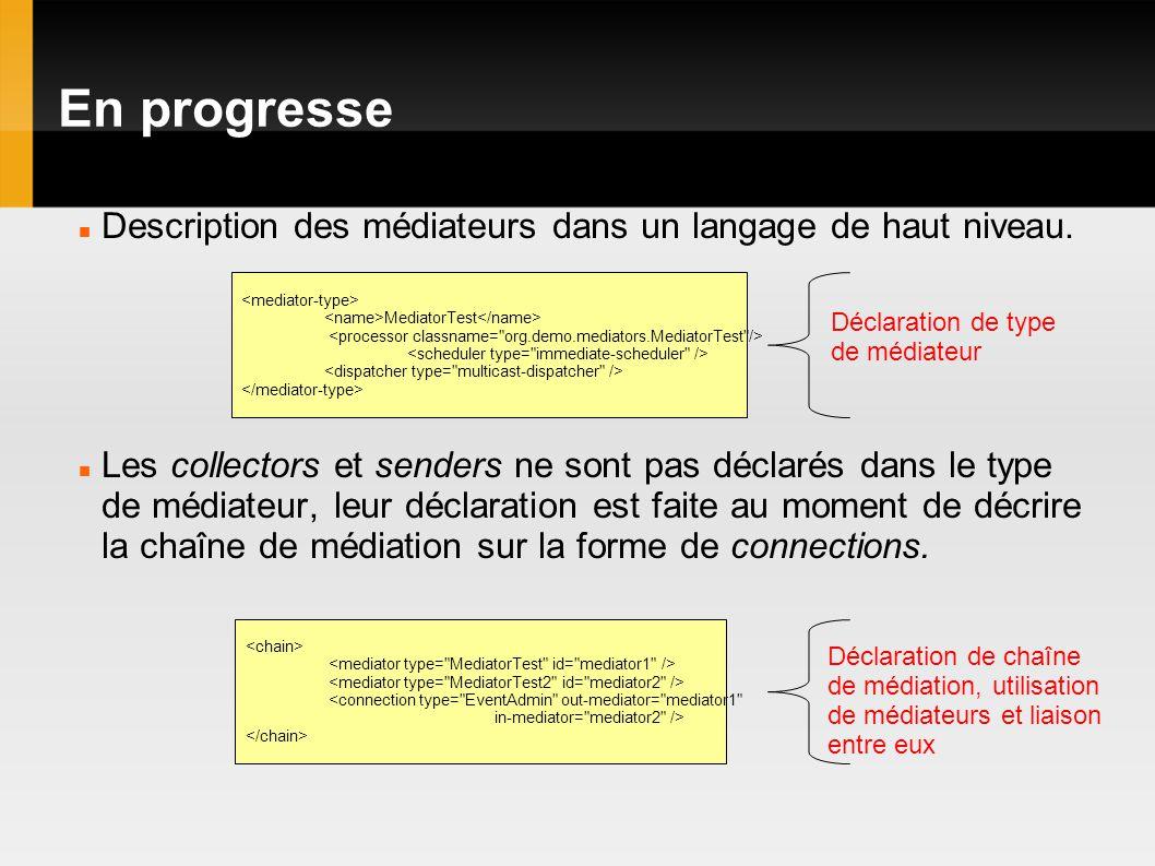 En progresse Description des médiateurs dans un langage de haut niveau.