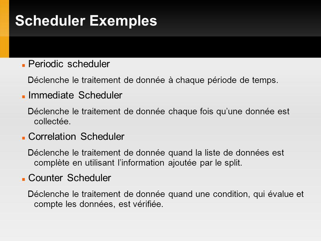 Scheduler Exemples Periodic scheduler Déclenche le traitement de donnée à chaque période de temps.