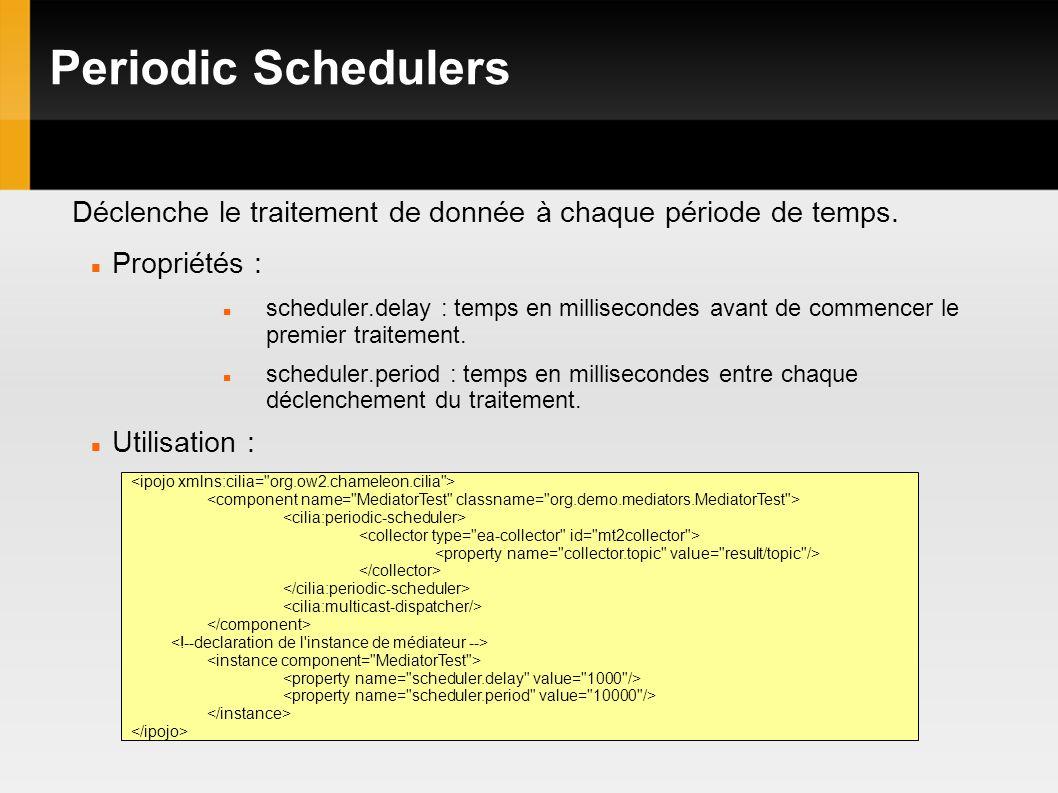 Periodic Schedulers Déclenche le traitement de donnée à chaque période de temps.