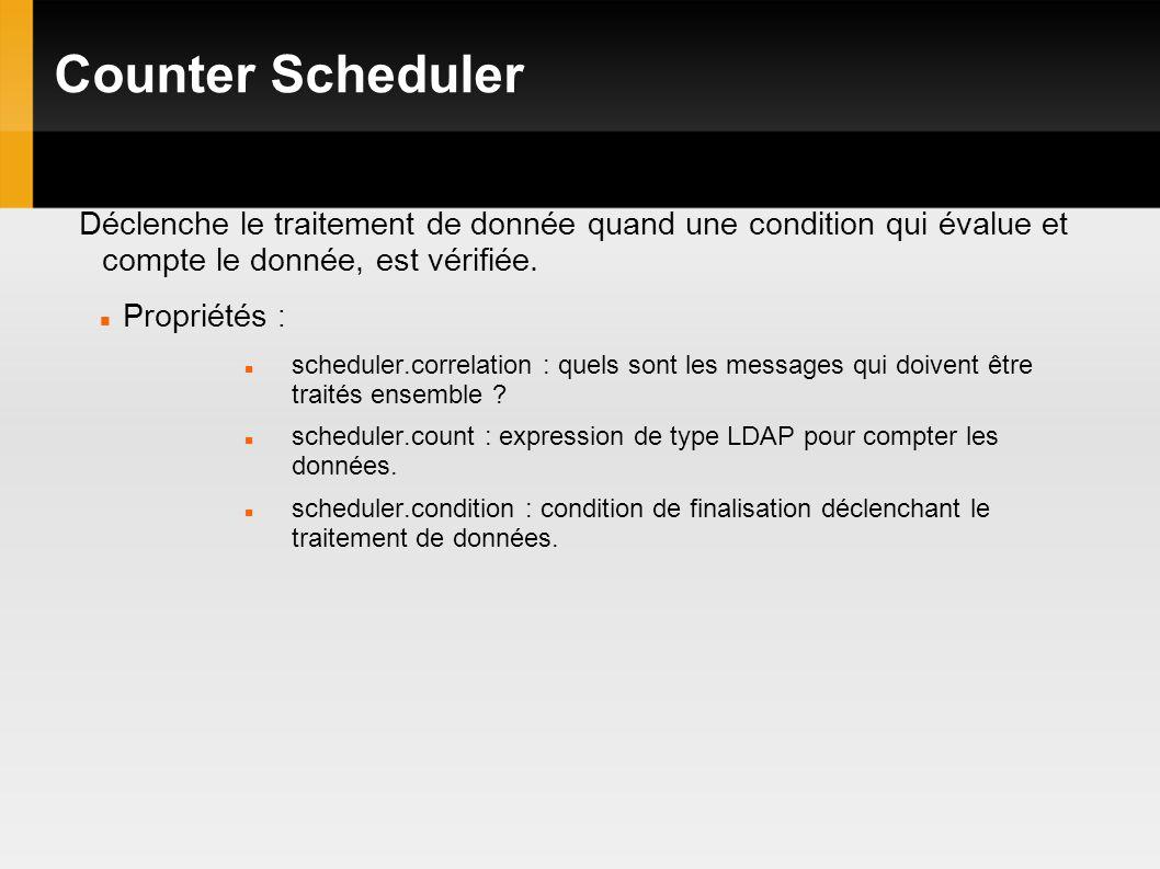 Counter Scheduler Déclenche le traitement de donnée quand une condition qui évalue et compte le donnée, est vérifiée.