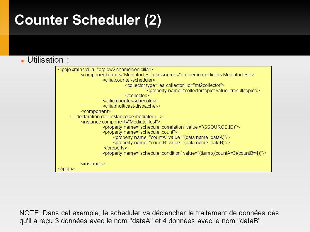 Counter Scheduler (2) Utilisation : NOTE: Dans cet exemple, le scheduler va déclencher le traitement de données dès qu il a reçu 3 données avec le nom dataA et 4 données avec le nom dataB .