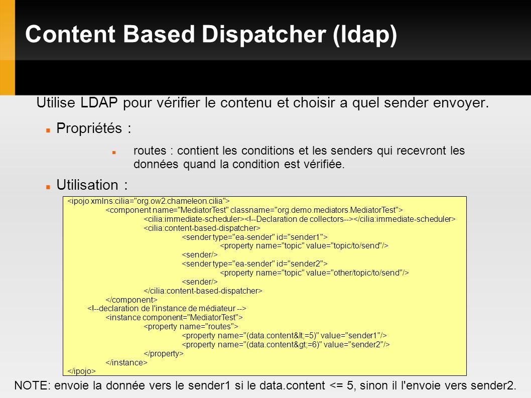 Content Based Dispatcher (ldap) Utilise LDAP pour vérifier le contenu et choisir a quel sender envoyer.