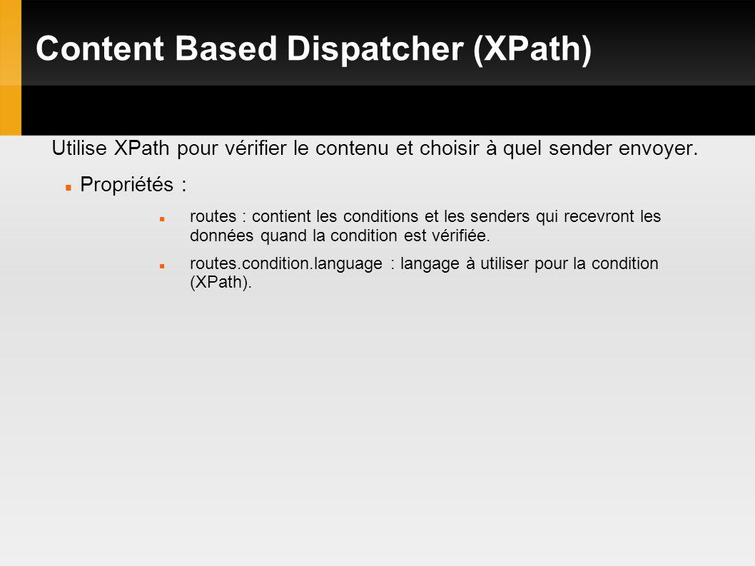 Content Based Dispatcher (XPath) Utilise XPath pour vérifier le contenu et choisir à quel sender envoyer.