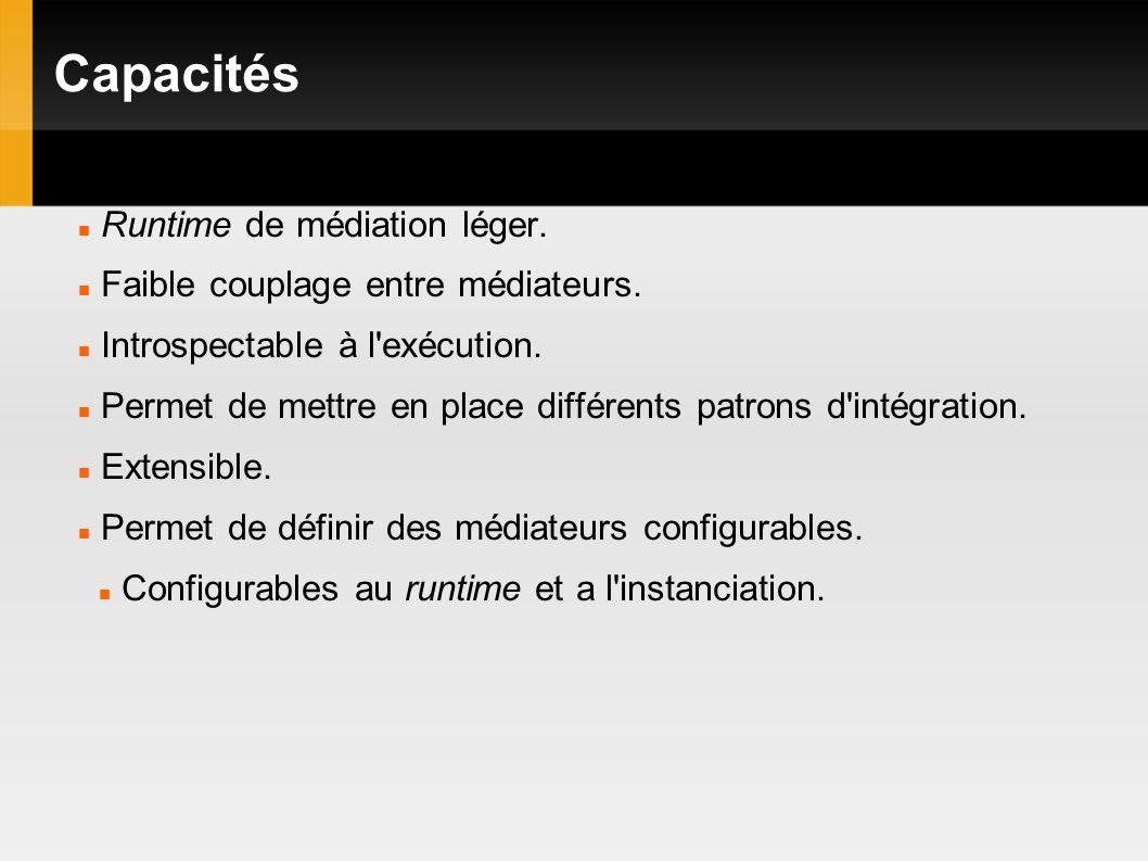 Capacités Runtime de médiation léger. Faible couplage entre médiateurs.