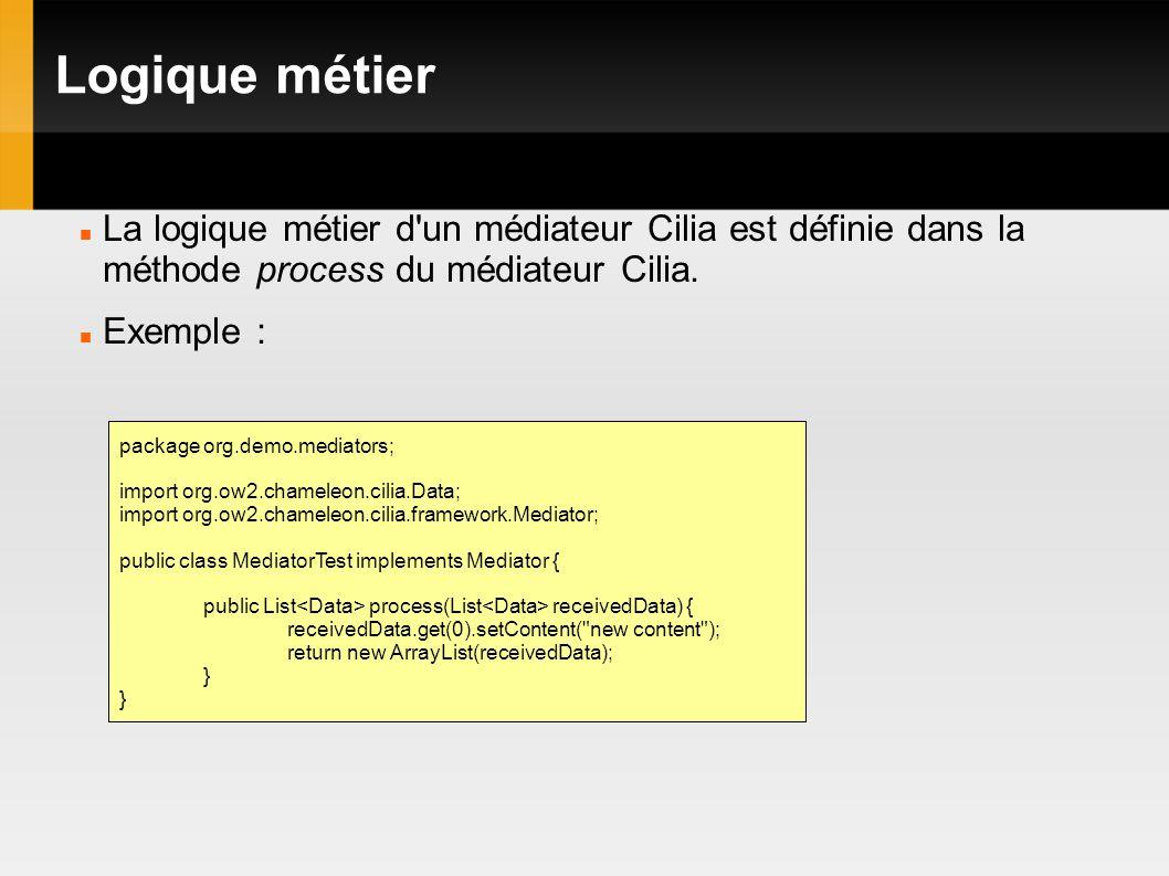 Logique métier La logique métier d un médiateur Cilia est définie dans la méthode process du médiateur Cilia.
