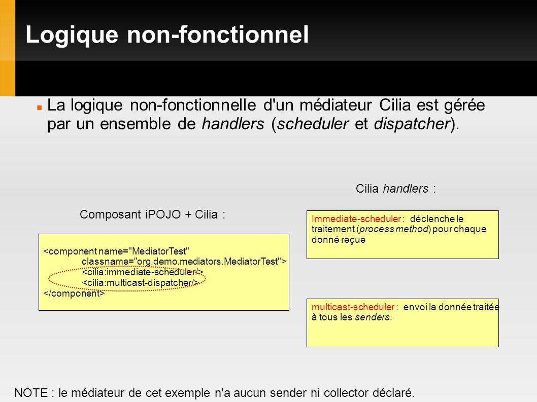 Logique non-fonctionnel La logique non-fonctionnelle d un médiateur Cilia est gérée par un ensemble de handlers (scheduler et dispatcher).