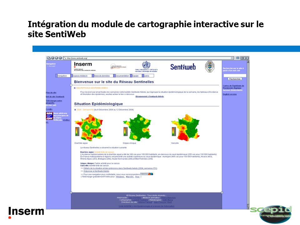 Intégration du module de cartographie interactive sur le site SentiWeb