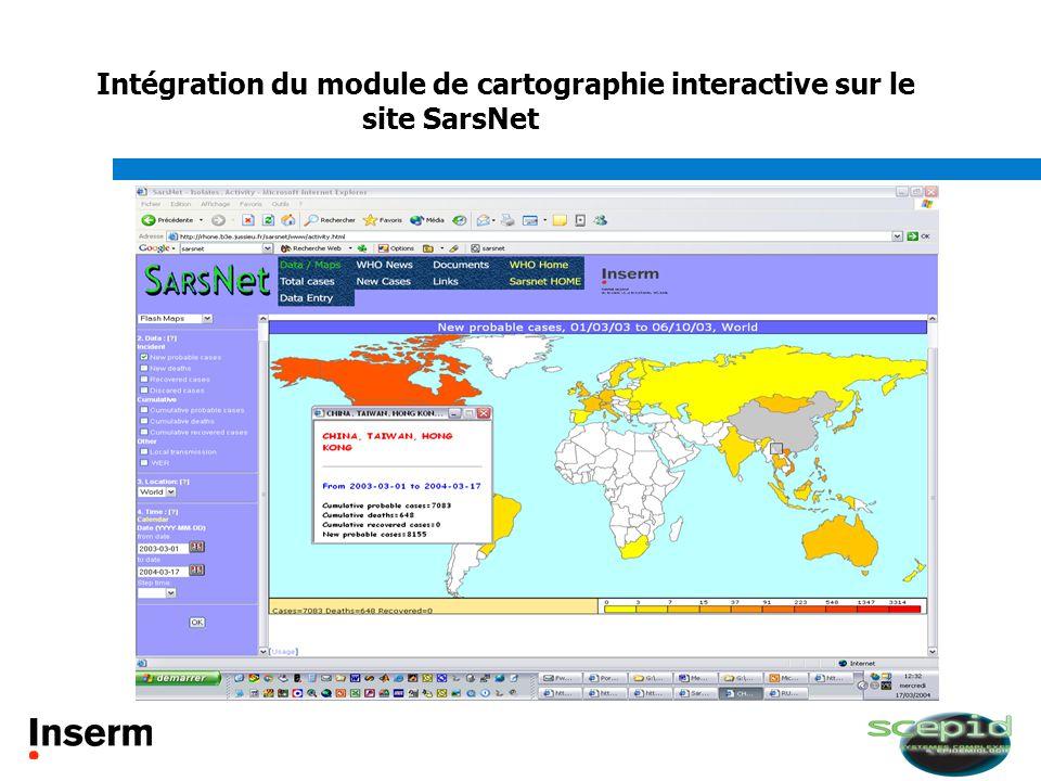 Intégration du module de cartographie interactive sur le site SarsNet