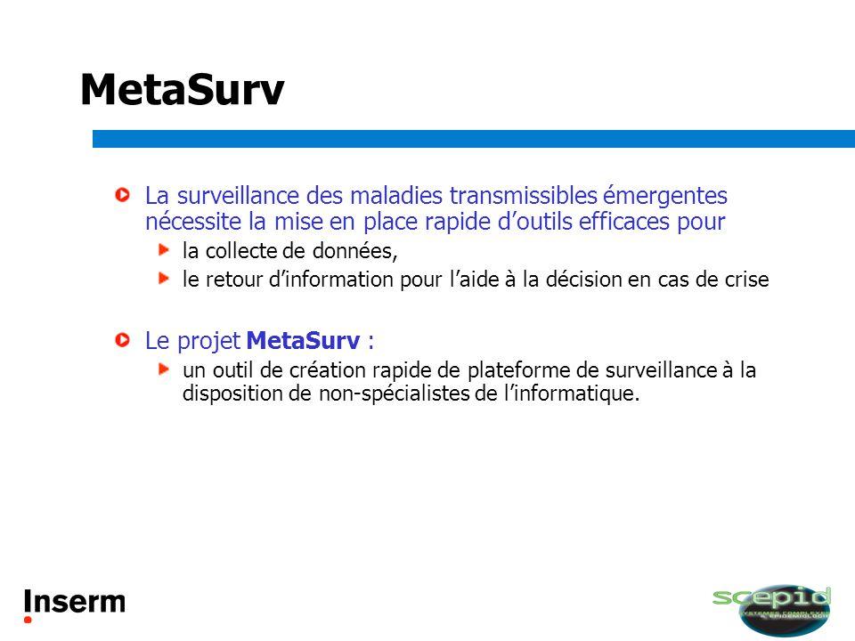 MetaSurv La surveillance des maladies transmissibles émergentes nécessite la mise en place rapide doutils efficaces pour la collecte de données, le re