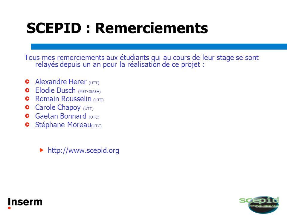 SCEPID : Remerciements Tous mes remerciements aux étudiants qui au cours de leur stage se sont relayés depuis un an pour la réalisation de ce projet :
