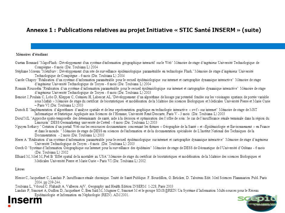 Annexe 1 : Publications relatives au projet Initiative « STIC Santé INSERM » (suite) Mémoires d'étudiant Gaetan Bonnard