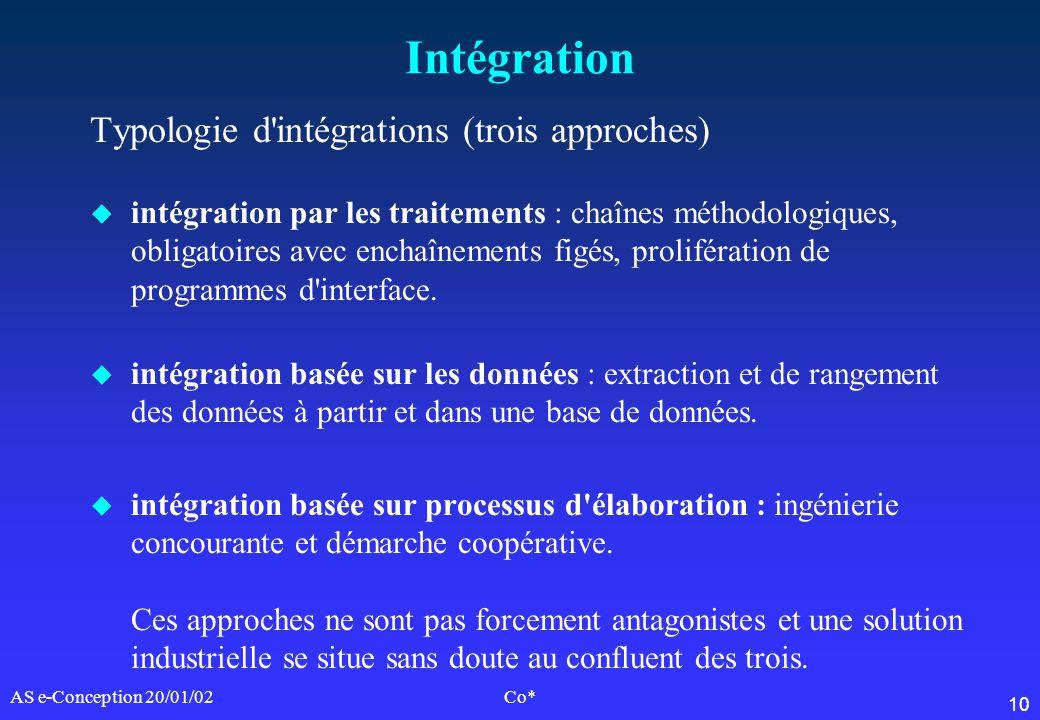 10 AS e-Conception 20/01/02Co* Intégration Typologie d'intégrations (trois approches) u intégration par les traitements : chaînes méthodologiques, obl
