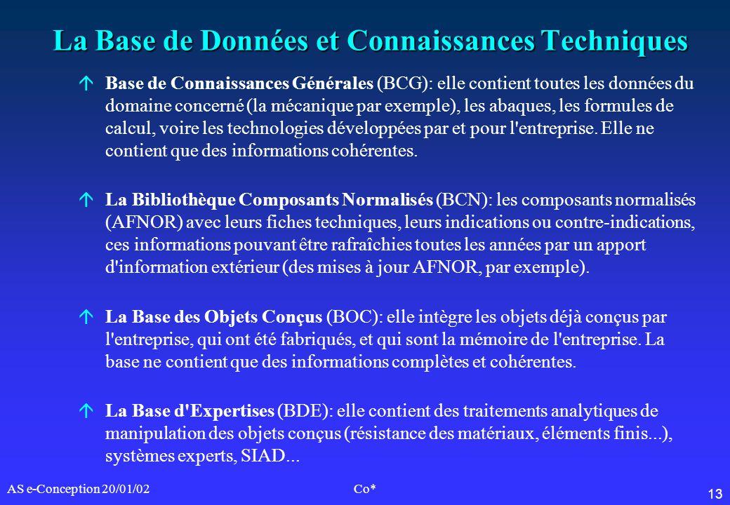 13 AS e-Conception 20/01/02Co* La Base de Données et Connaissances Techniques áBase de Connaissances Générales (BCG): elle contient toutes les données
