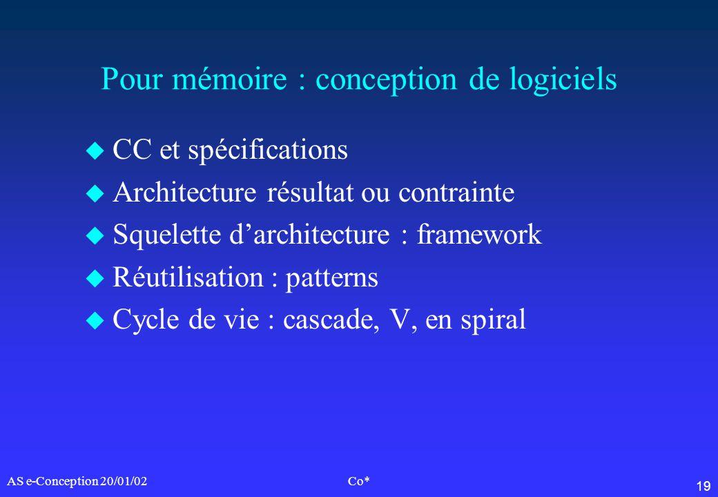 19 AS e-Conception 20/01/02Co* Pour mémoire : conception de logiciels u CC et spécifications u Architecture résultat ou contrainte u Squelette darchit