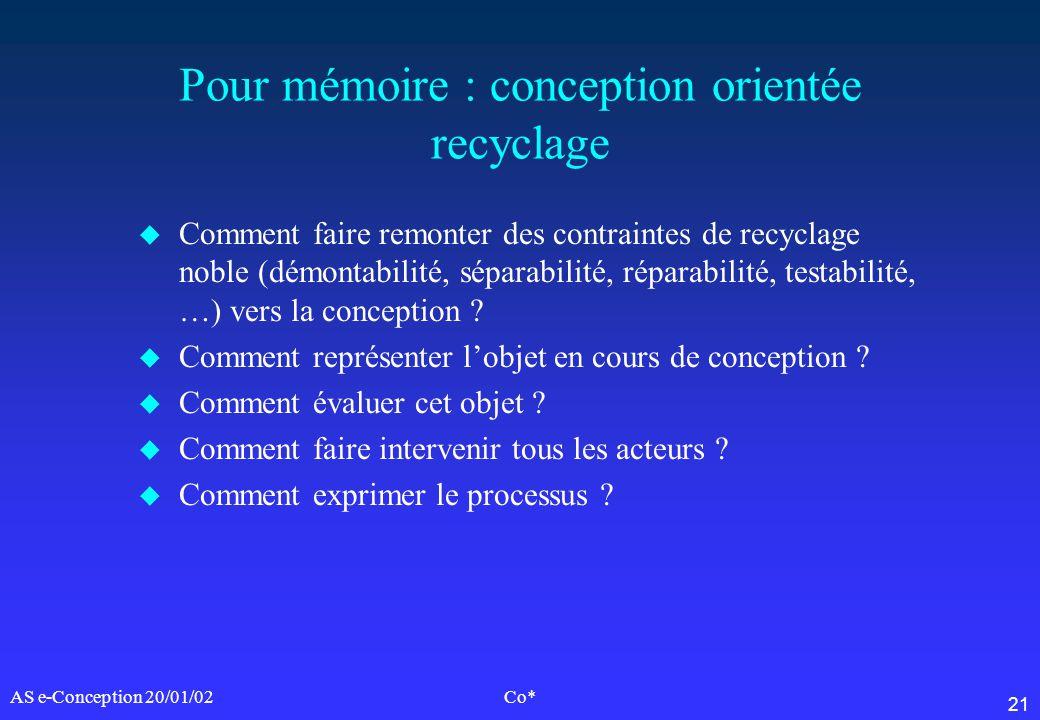 21 AS e-Conception 20/01/02Co* Pour mémoire : conception orientée recyclage u Comment faire remonter des contraintes de recyclage noble (démontabilité
