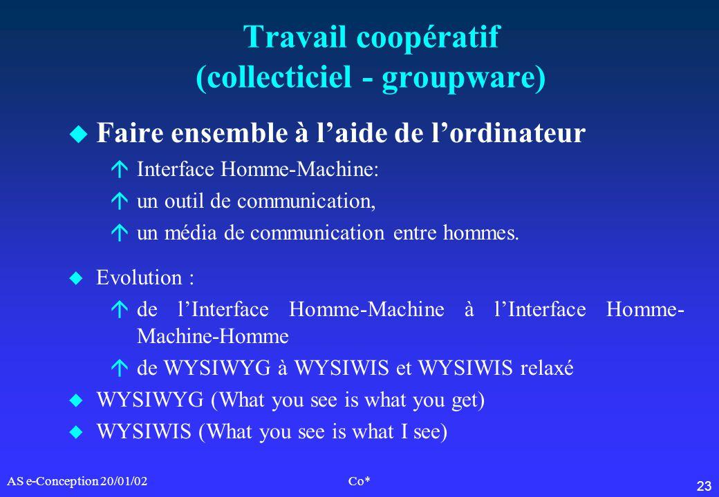 23 AS e-Conception 20/01/02Co* Travail coopératif (collecticiel - groupware) u Faire ensemble à laide de lordinateur áInterface Homme-Machine: áun out