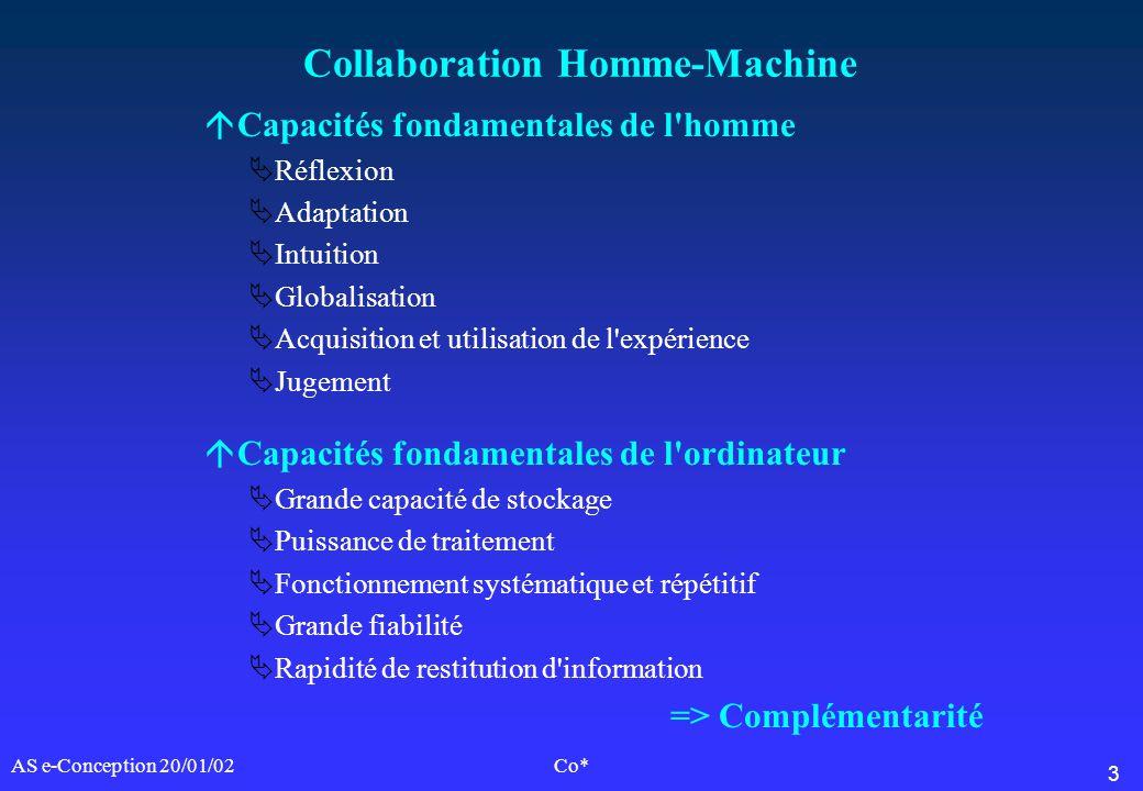 3 AS e-Conception 20/01/02Co* Collaboration Homme-Machine áCapacités fondamentales de l'homme Réflexion Adaptation Intuition Globalisation Acquisition