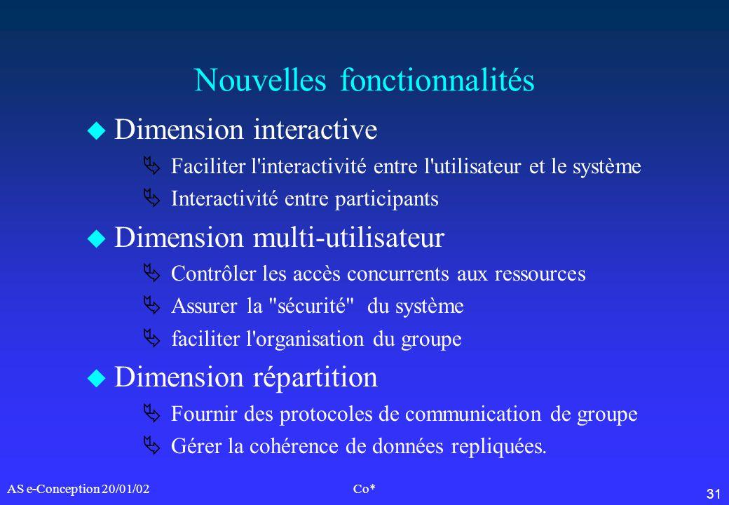 31 AS e-Conception 20/01/02Co* Nouvelles fonctionnalités u Dimension interactive Faciliter l'interactivité entre l'utilisateur et le système Interacti