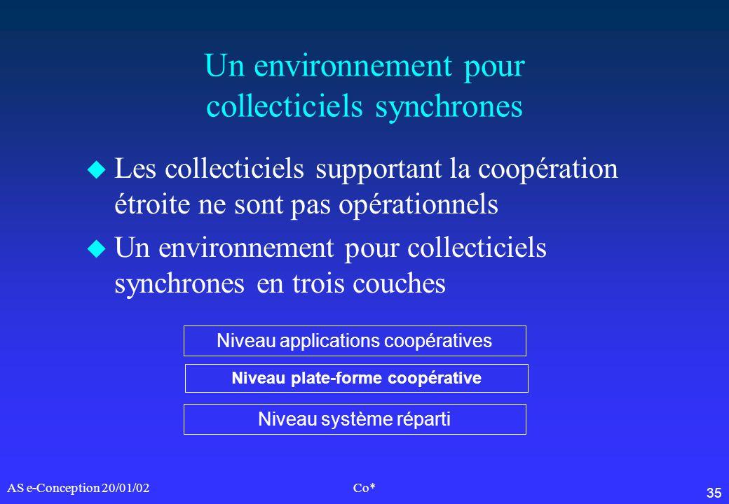 35 AS e-Conception 20/01/02Co* Un environnement pour collecticiels synchrones u Les collecticiels supportant la coopération étroite ne sont pas opérat
