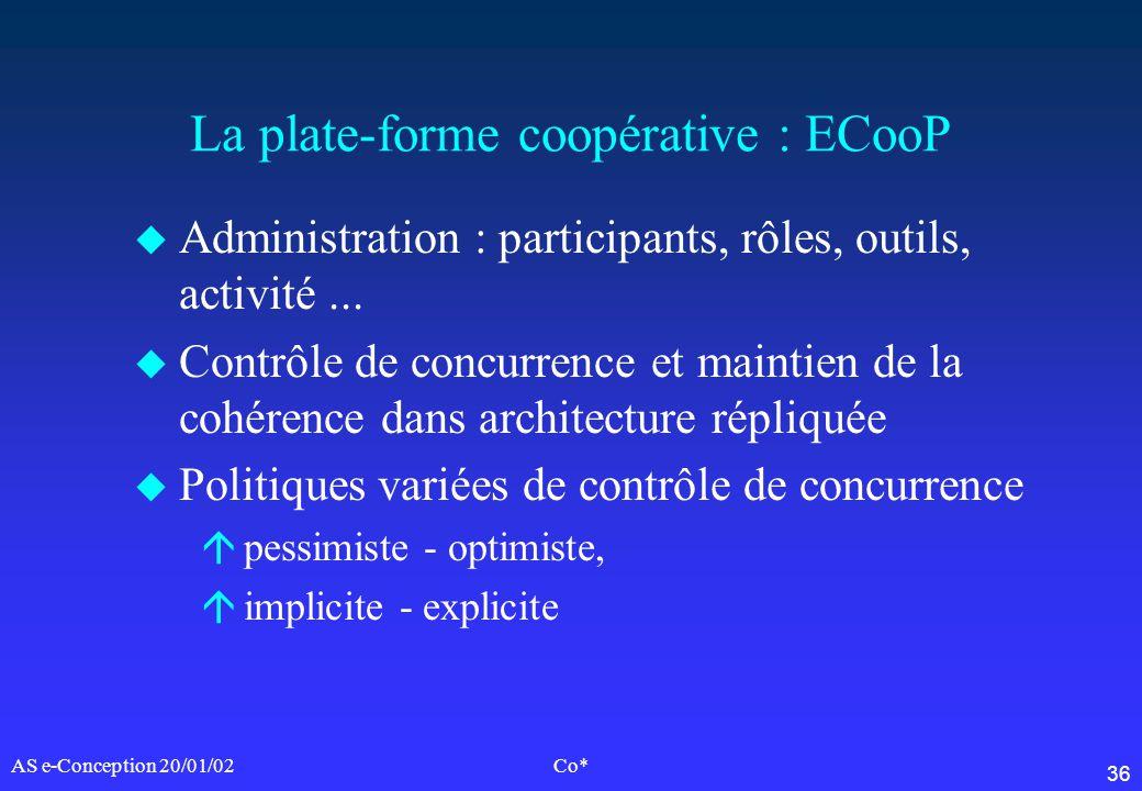 36 AS e-Conception 20/01/02Co* La plate-forme coopérative : ECooP u Administration : participants, rôles, outils, activité... u Contrôle de concurrenc