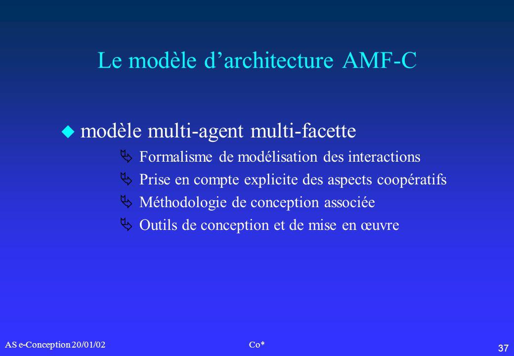 37 AS e-Conception 20/01/02Co* Le modèle darchitecture AMF-C u modèle multi-agent multi-facette Formalisme de modélisation des interactions Prise en c