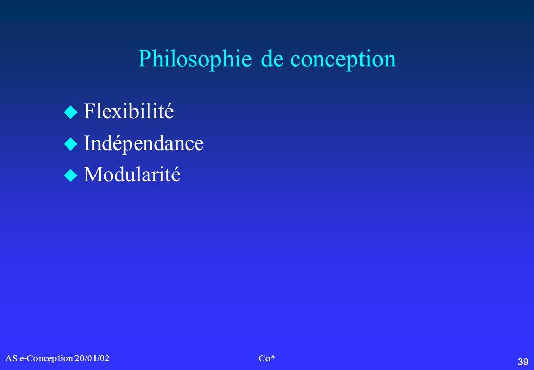 39 AS e-Conception 20/01/02Co* Philosophie de conception u Flexibilité u Indépendance u Modularité
