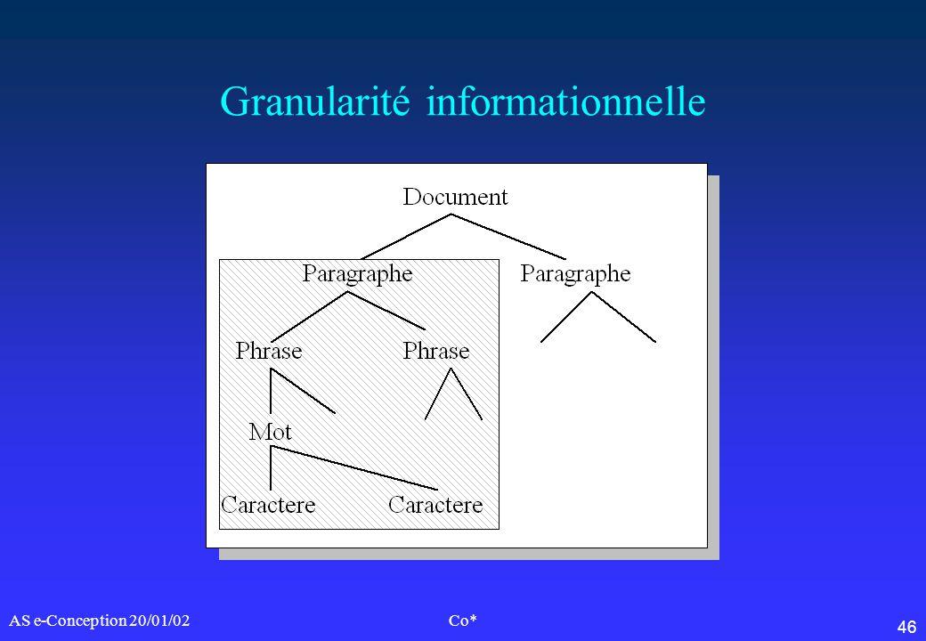 46 AS e-Conception 20/01/02Co* Granularité informationnelle