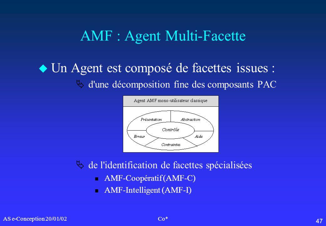 47 AS e-Conception 20/01/02Co* AMF : Agent Multi-Facette u Un Agent est composé de facettes issues : d'une décomposition fine des composants PAC de l'