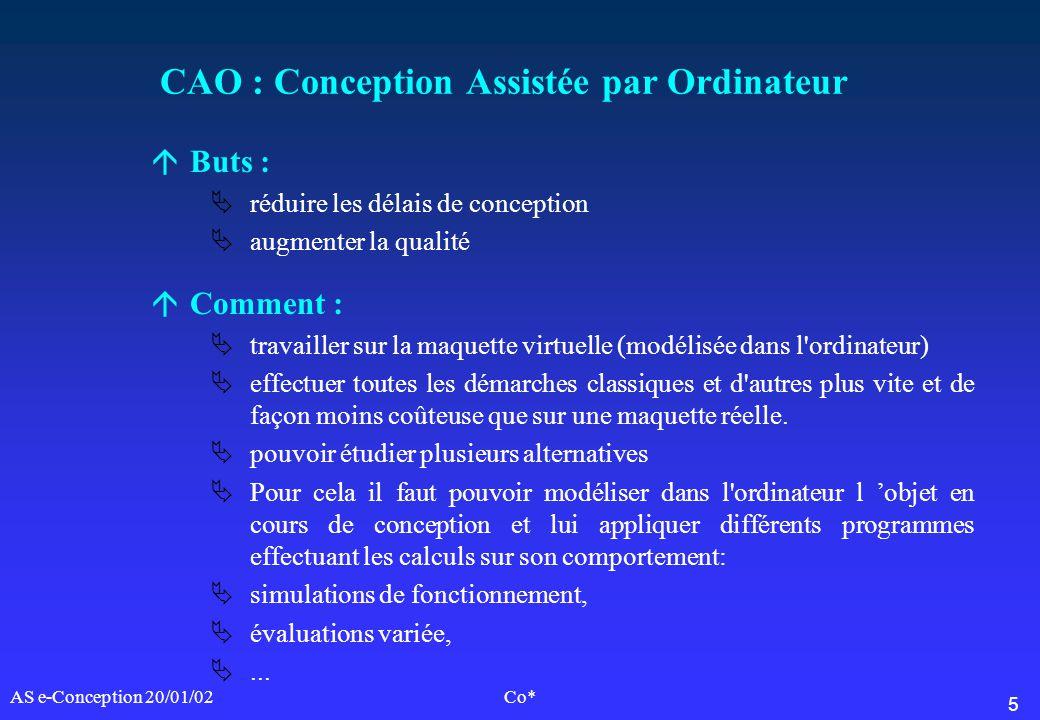 5 AS e-Conception 20/01/02Co* CAO : Conception Assistée par Ordinateur áButs : réduire les délais de conception augmenter la qualité áComment : travai