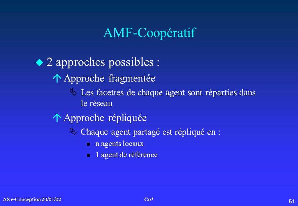 51 AS e-Conception 20/01/02Co* AMF-Coopératif u 2 approches possibles : áApproche fragmentée Les facettes de chaque agent sont réparties dans le résea