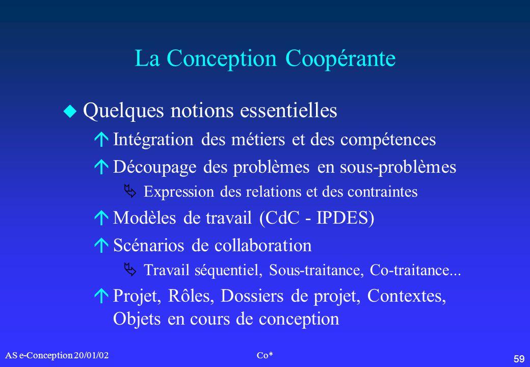 59 AS e-Conception 20/01/02Co* La Conception Coopérante u Quelques notions essentielles áIntégration des métiers et des compétences áDécoupage des pro
