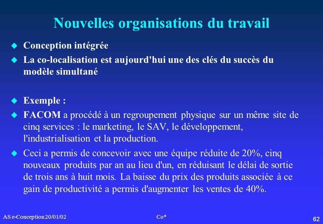 62 AS e-Conception 20/01/02Co* Nouvelles organisations du travail u Conception intégrée u La co-localisation est aujourd'hui une des clés du succès du